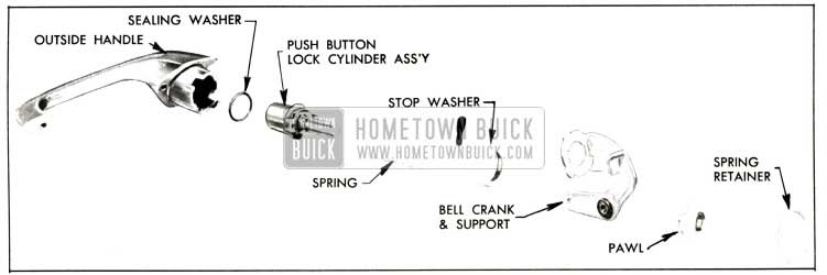 1957 Buick Disassembly of Front Door Outside Handle-Four-Door Models