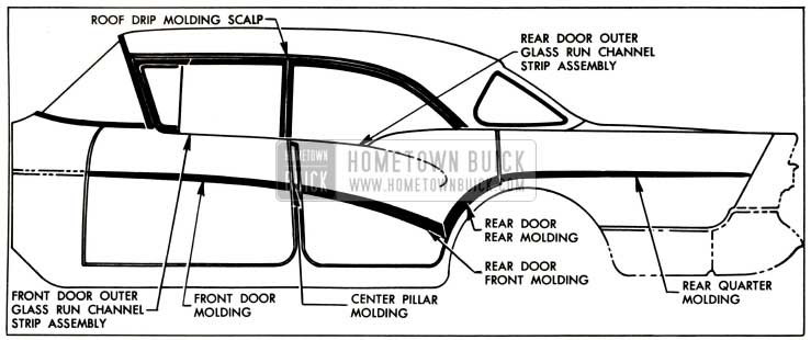 1957 Buick Exterior Moldings-Models 43-63
