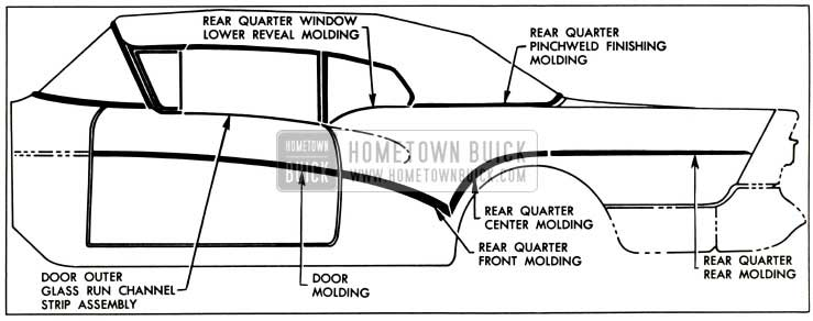 1957 Buick Exterior Moldings-Models 46C-66C
