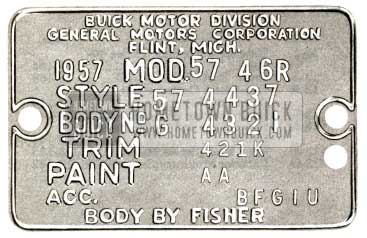 1957 Buick Body Tag