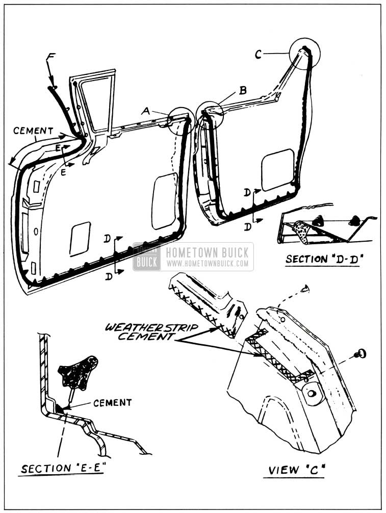 1957 Buick Front and Rear Door Weatherstrips Illustration