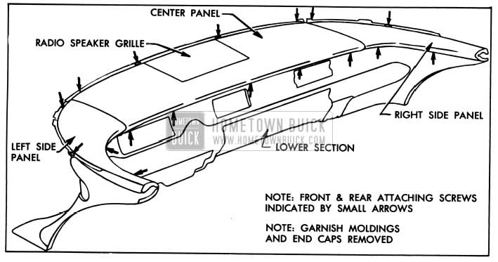1957 Buick Instrument Panel Upper Section Attachment Illustration