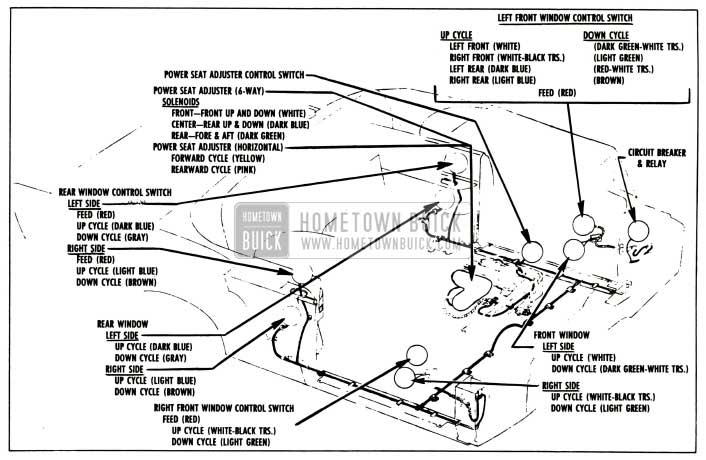 1957 Buick Power Window and Seat Wiring Circuit Diagram-Series 50-70