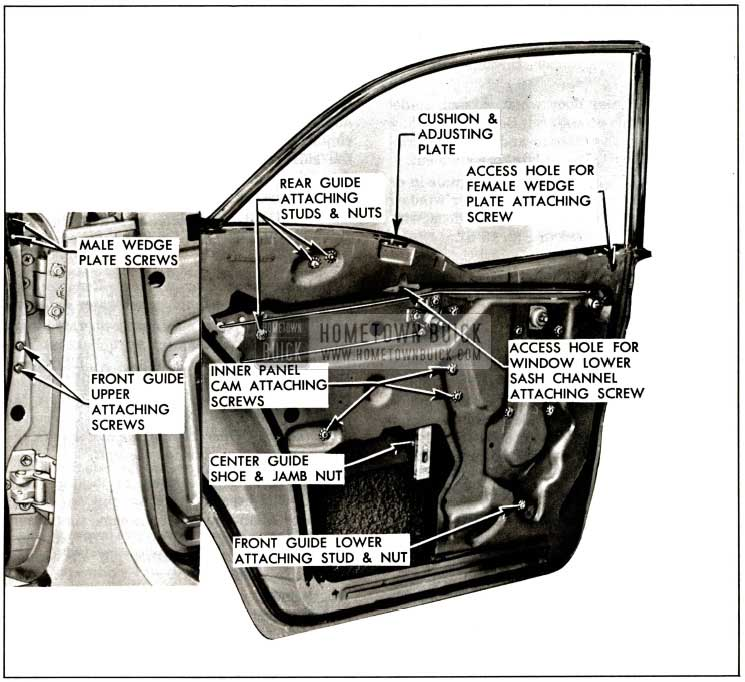 1957 Buick Rear Door Window Adjustments-Models 43-63