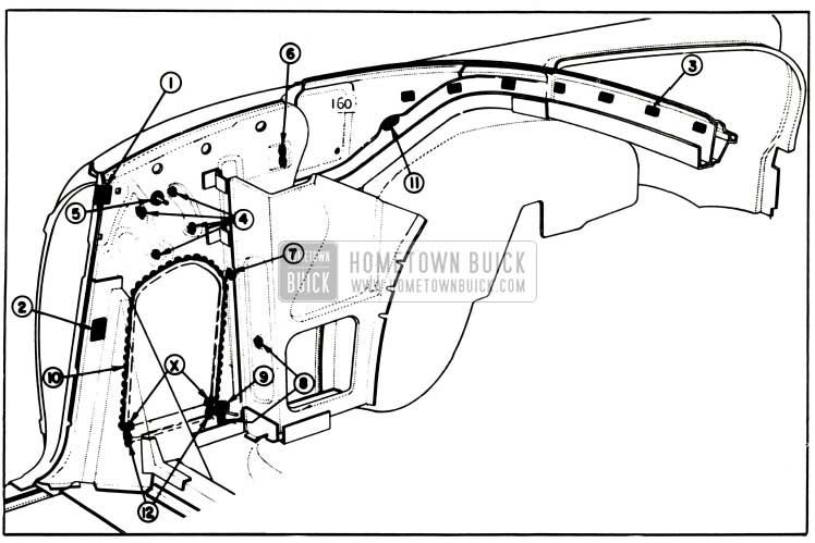 1957 Buick Rear Quarter Inner Panel Sealing-Convertibles