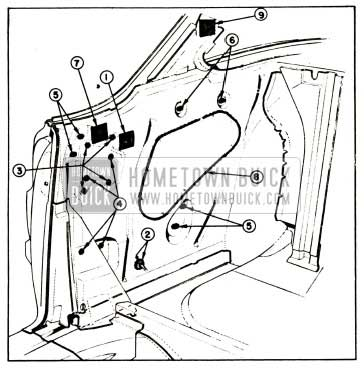 1957 Buick Rear Quarter Inner Panel Sealing-Two-Door Rivieras