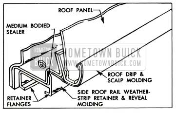 1957 Buick Side Roof Rail Weatherstrip Retainer and Molding Sealing