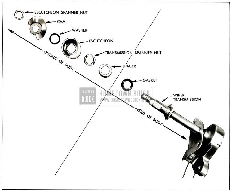 1957 Buick Windshield Wiper Transmission Component Parts-Exploded View