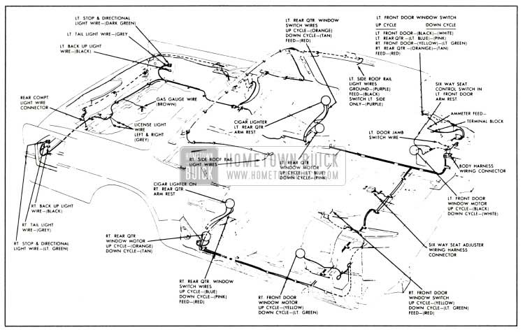 1958 buick body wiring cinuit diagram-series 50-70-700 two-door closed bodies