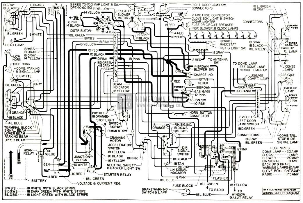 1958 Buick Chassis Wiring Diagram - Dynaflow Transmission