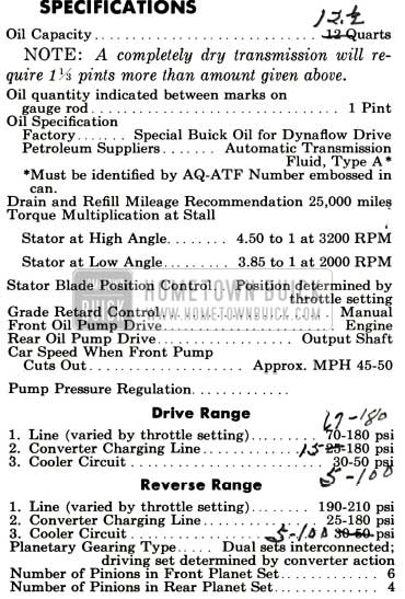 1958 Buick Flight Pitch Dynaflow Specifications