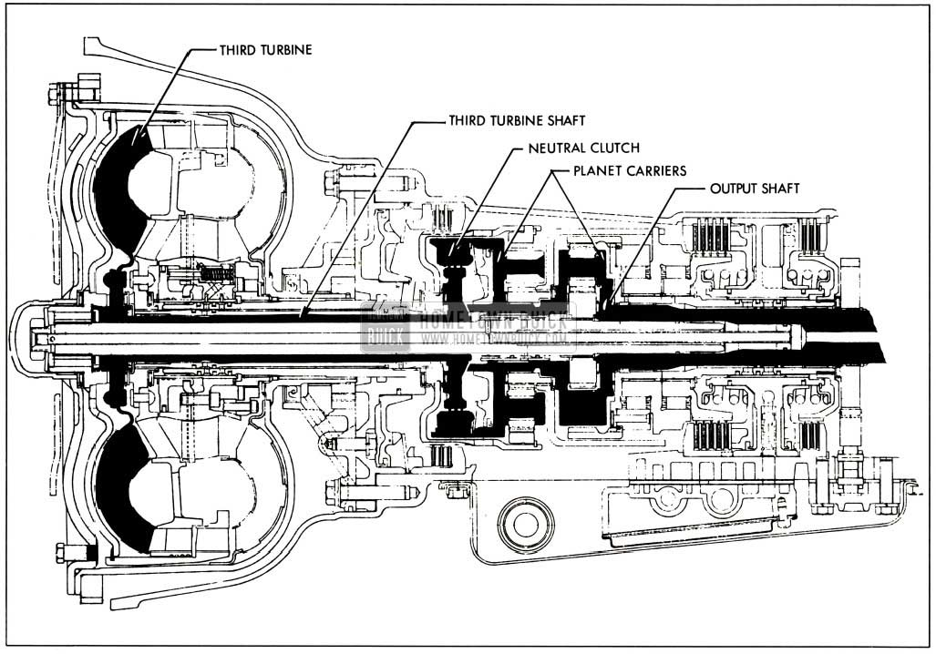 1958 Buick Third Turbine, Third Turbine Shaft, Neutral Clutch Planet Carriers, and Output Shaft