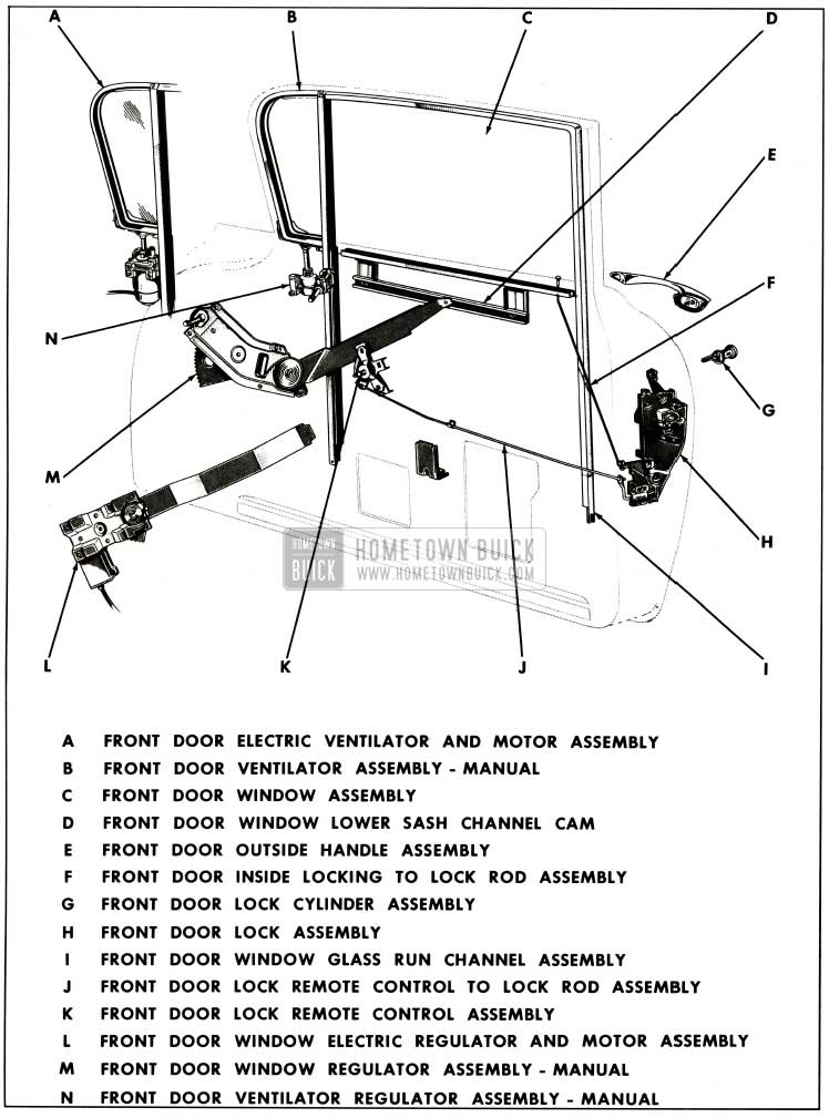 1959 Buick Front Door Assembly Typical of Sedan Style