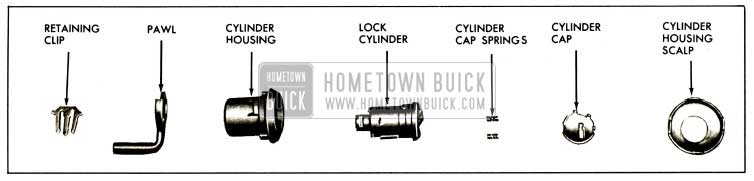 1959 Buick Front Door Lock Cylinder Assembly - Sedan Styles
