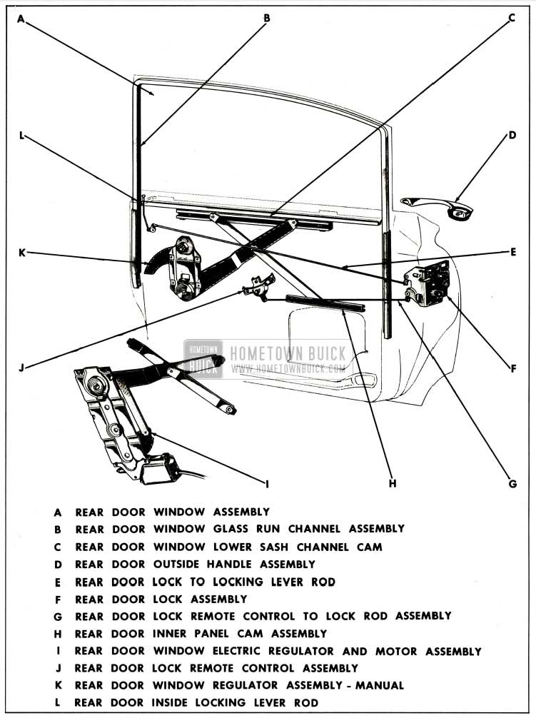 1959 Buick Rear Door Assembly Typical of Sedan Styles