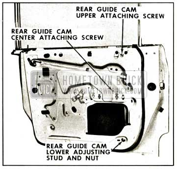 1959 Buick Rear Door Window Rear Guide Cam Removal Illustration