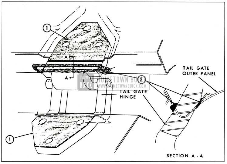 1959 Buick Tail Gate Hinge Anti-Squeak and Sealing
