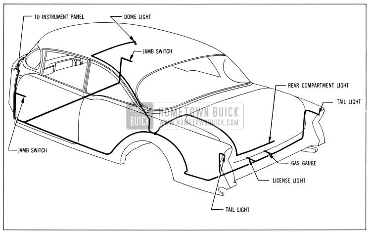 1956 Buick Body Wiring Circuit Diagram-Model 56R-Style 4537