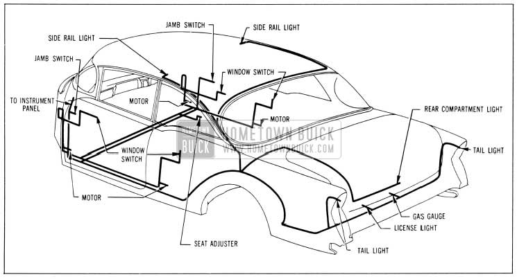 1956 Buick Body Wiring Circuit Diagram-Model 76R-Style 4737X