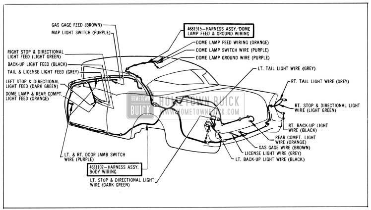 1956 Buick Body Wiring Circuit Diagram-Models 46R, 66R-Styles 4437, 4637