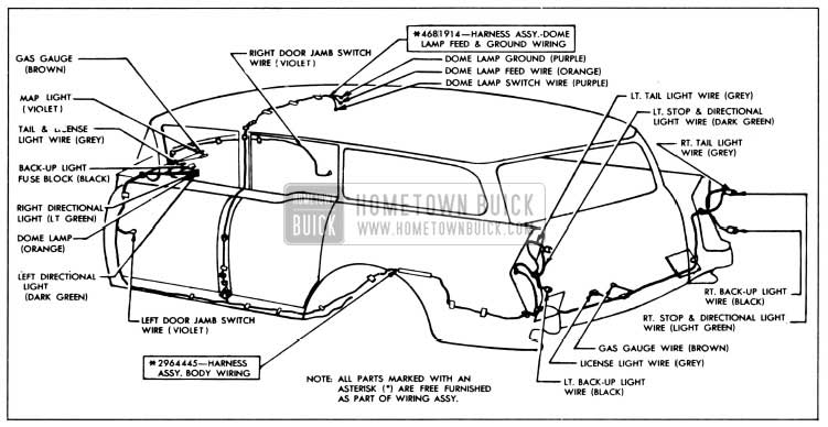 1956 Buick Body Wiring Circuit Diagram-Models 49, 69