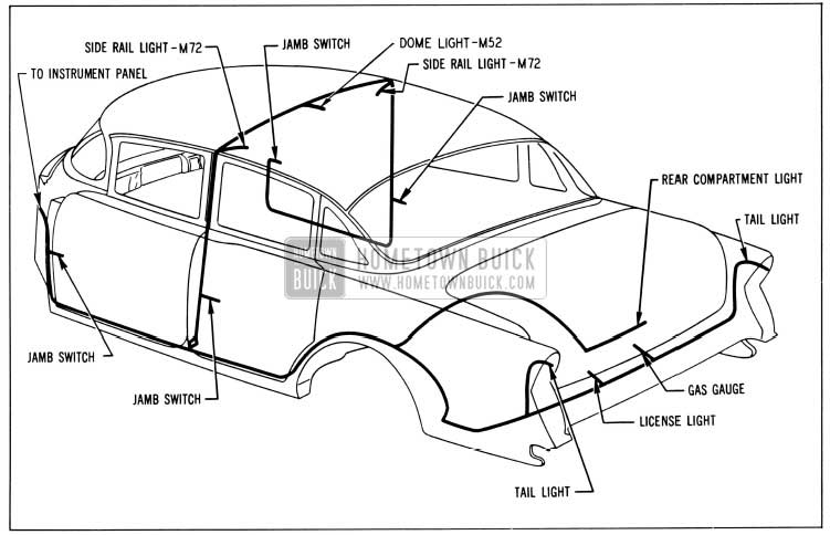1956 Buick Body Wiring Circuit Diagram-Models 52, 72-Styles 4519, 4719