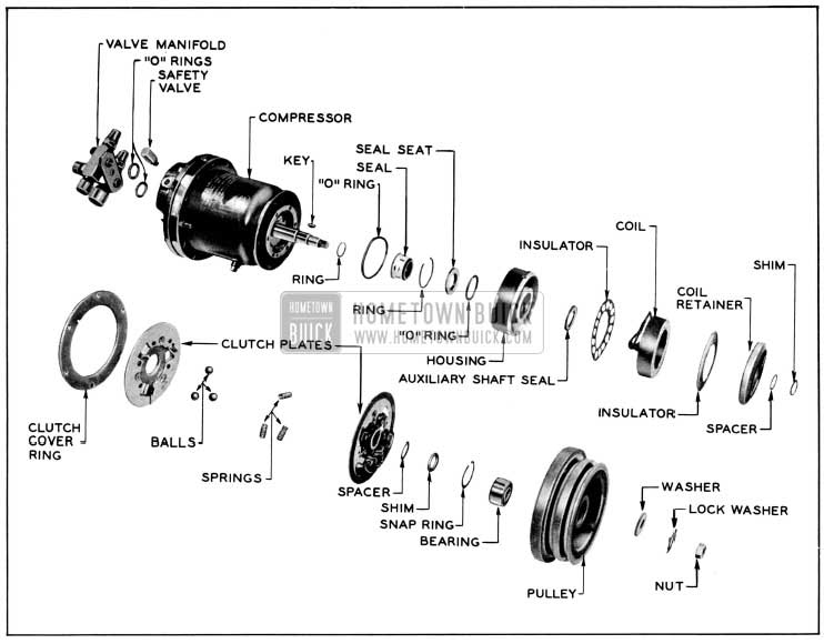 1956 Buick Clutch and Seal Exploded View