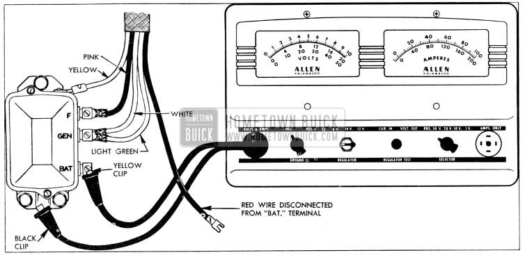1956 Buick Current Regulator Test Connections - Allen Tester