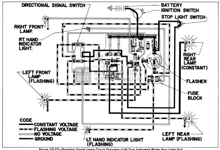 1956 Buick Direction Signal Lamp Circuit Diagram-Left Turn Indicated