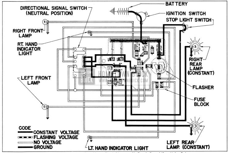 1956 Buick Direction Signal Lamp Circuit Diagram-No Turn Indicated