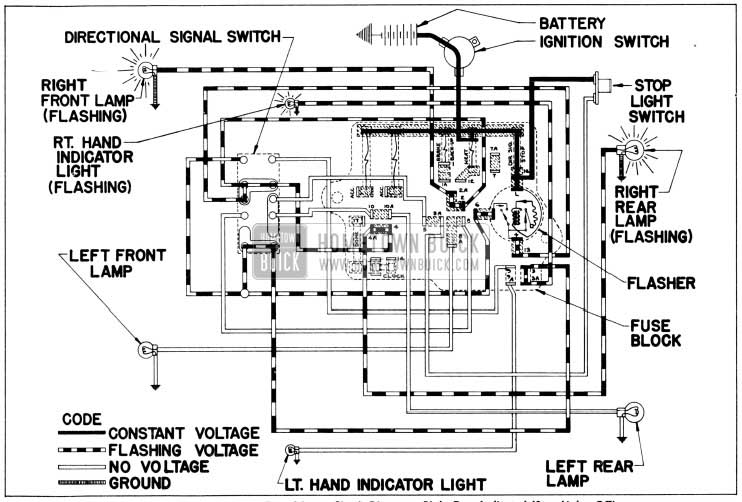 1956 Buick Direction Signal Lamp Circuit Diagram-Right Turn Indicated