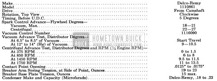 1956 Buick Distributor Specifications