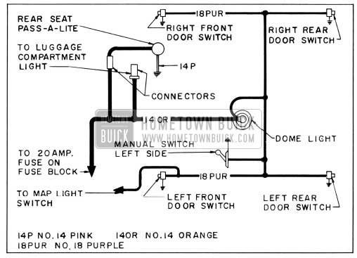 1956 Buick Dome Lamp Wiring Circuit Diagram-Models 52, 53, 72, 73