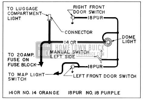 1956 Buick Dome Lamp Wiring Circuit Diagram-Models 56C, 56R, 76C, 76R