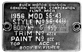 1956 Buick Body Tag