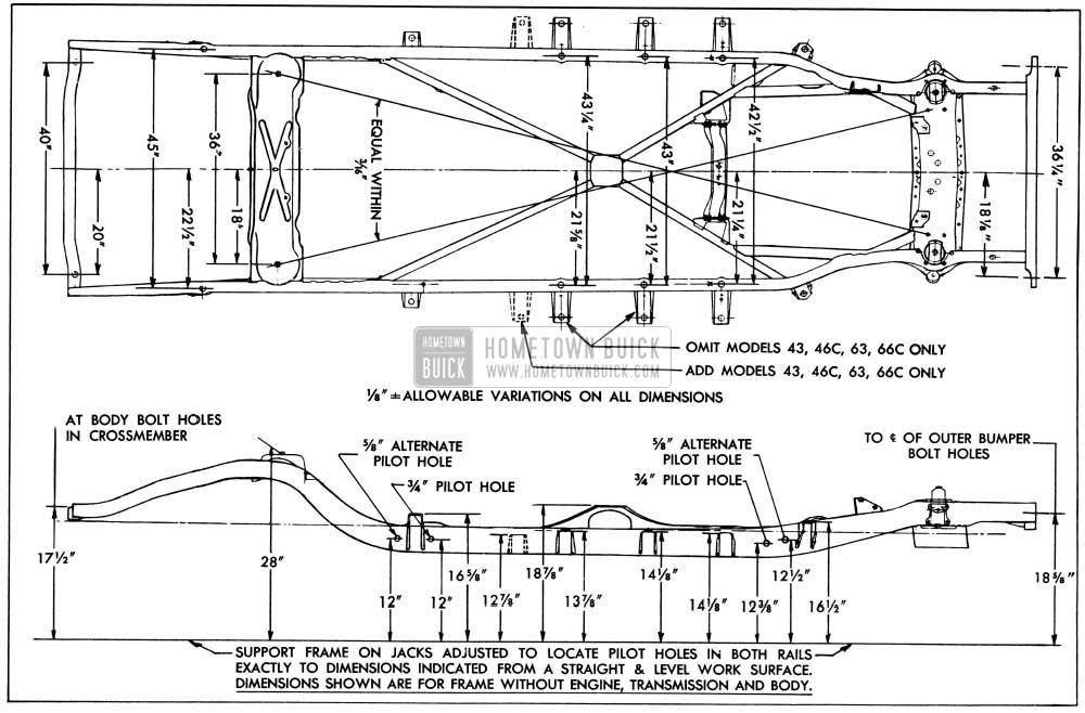 1956 Buick Frame Checking Dimensions-Series 40-60