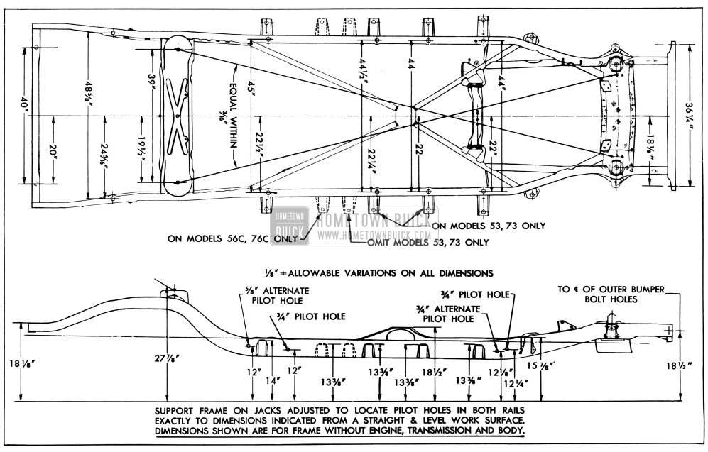 1956 Buick Frame Checking Dimensions-Series 50-70
