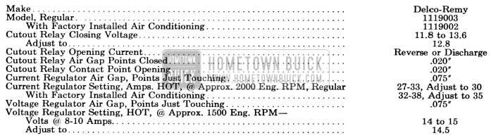 1956 Buick Generator Regulator Specifications