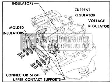 1956 Buick Relationship of Connector Strap, Insulators and Upper Contact Supports