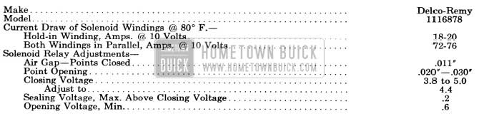 1956 Buick Solenoid Switch and Relay Specifications