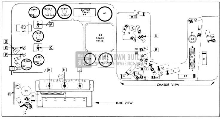 1956 Buick Sonomatic Radio Parts Layout