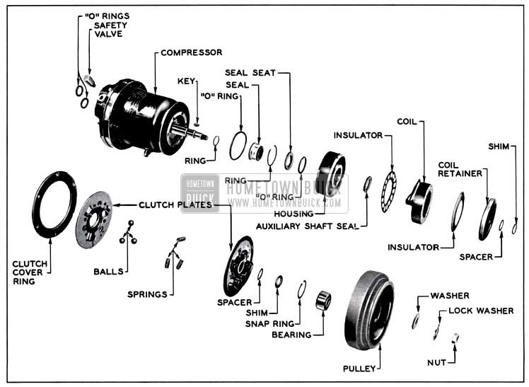 1957 Buick Clutch and Seal Exploded View