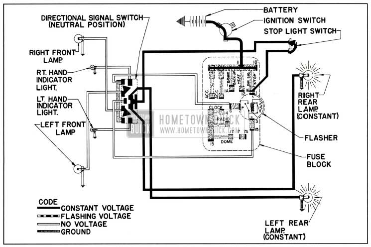 1957 buick direction signal lamp circuit diagram-no turn indicated