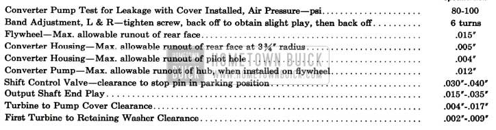 1957 Buick Dynaflow Test and Assembly Specifications