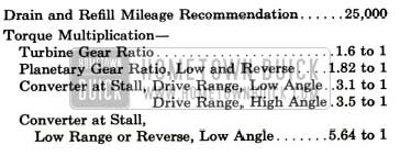 1957 Buick Dynaflow Transmission Specification