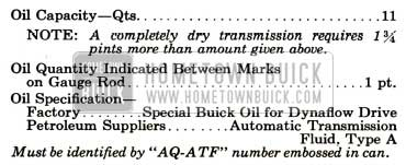 1957 Buick Dynaflow Transmission Specifications