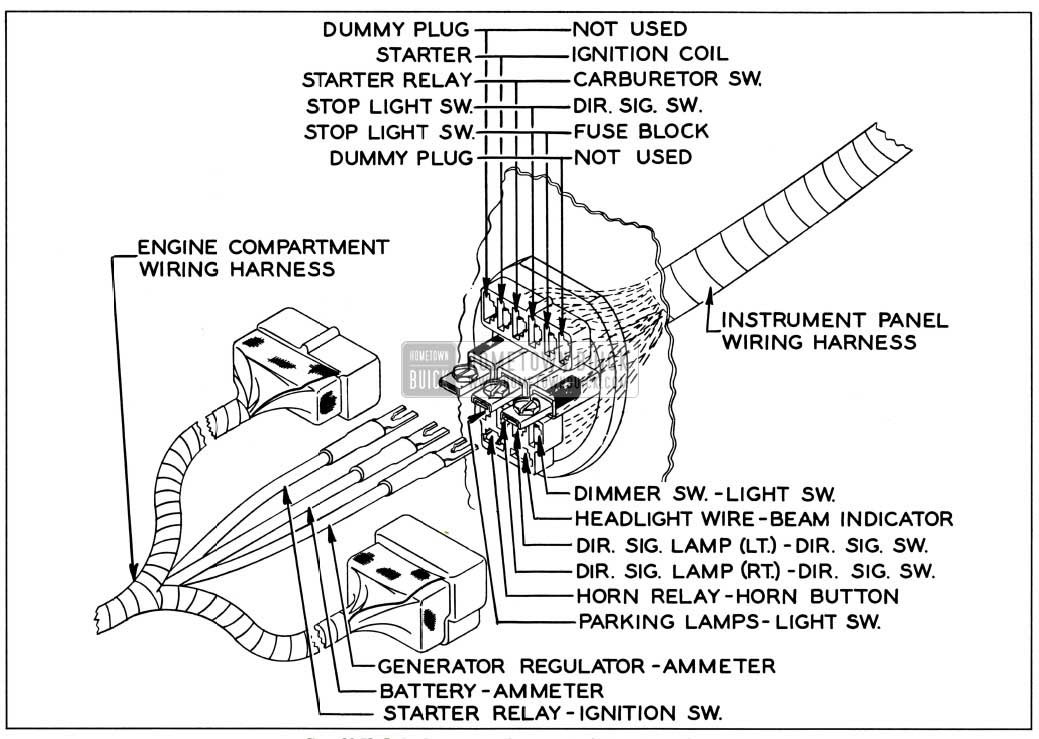 1957 buick engine compartment to instrument panel wiring harness connectors 1957 buick wiring diagrams hometown buick 1957 buick special fuse box location at panicattacktreatment.co