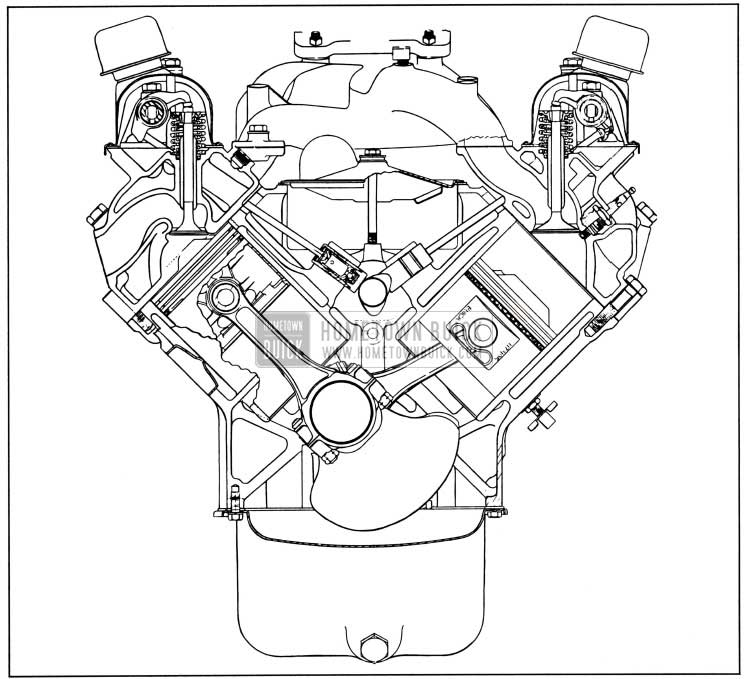 1957 Buick Engine, End Sectional View