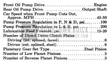 1957 Buick General Dynaflow Transmission Specifications