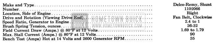 1957 Buick Generator Specifications